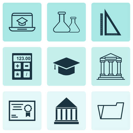 Education icons set with academy building, hat, rulers and other electronic tool   elements. Isolated vector illustration education icons.  イラスト・ベクター素材