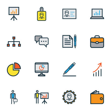 Business icons colored line set with employee, cash, engineer and other pie chart   elements. Isolated vector illustration business icons.