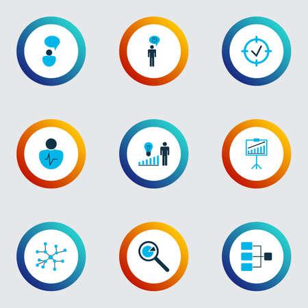 Executive icons colored set with research, presentation of statistics, connection network and other focus  elements. Isolated vector illustration executive icons.