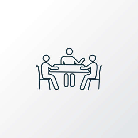 Meeting icon line symbol. Premium quality isolated brainstorming element in trendy style.