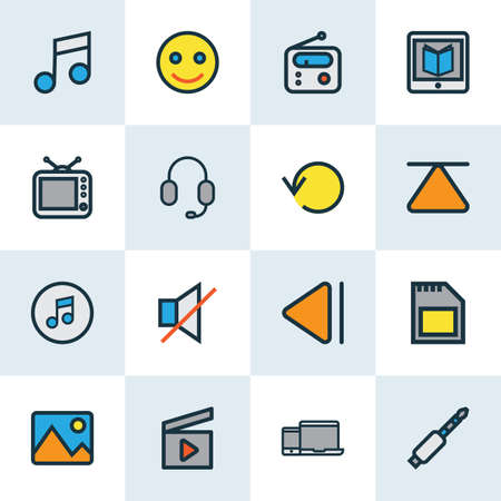 Music icons colored line set with top, gadget, radio and other headset   elements. Isolated vector illustration music icons.  イラスト・ベクター素材
