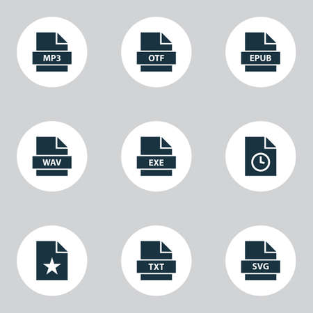 Document icons set with page, mp3, wav and other software
