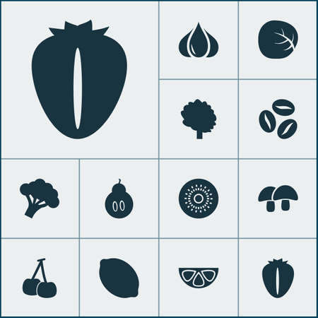 Food icons set with white cabbage, berry, citrus and other strawberry  elements. Isolated vector illustration food icons. Illustration