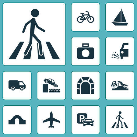 Transportation icons set with van, sail boat, parking and other truck