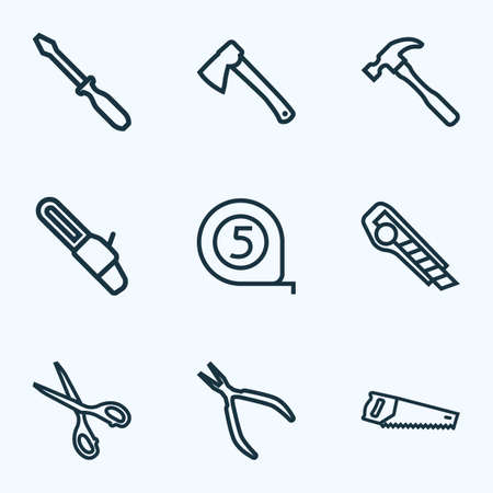 Handtools icons line style set with hammer, hatchet, scissors and other shears   elements. Isolated vector illustration handtools icons. Illustration