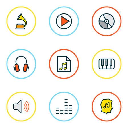 Ligne colorée d'icônes audio avec casque, niveau de musique, égaliseur et autres éléments de liste. Icônes audio d'illustration vectorielle isolée. Vecteurs