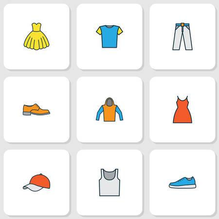 Dress icons colored line set with hoodie, blouse, hat and other cap   elements. Isolated vector illustration dress icons. Çizim