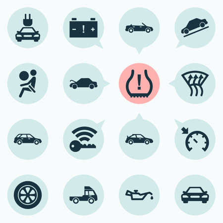 Auto icons set with cabriolet, station wagon, truck and other crossover  elements. Isolated vector illustration auto icons.