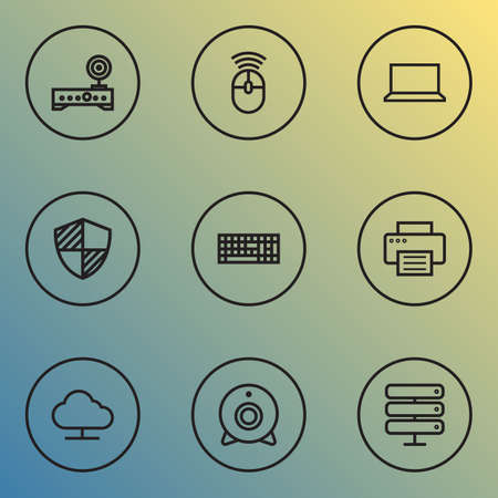 Computer icons line style set with mouse, notebook, shield and other keypad    elements. Isolated vector illustration computer icons. Illustration