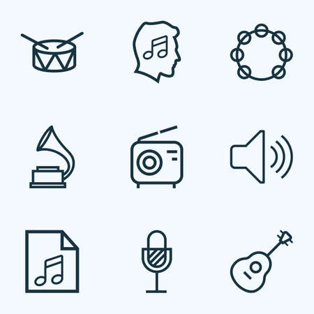 Music icons line style set with radio, tambourine, volume and other timbrel  elements. Isolated vector illustration music icons. Banque d'images - 127567759