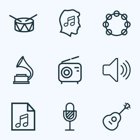 Style de ligne d'icônes musicales avec radio, tambourin, volume et autres éléments de tambourin. Icônes de musique d'illustration vectorielle isolée.