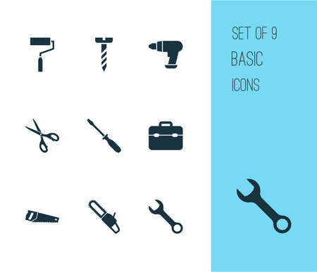 Repair icons set with bolt, toolbox, drill and other shears   elements. Isolated vector illustration repair icons.