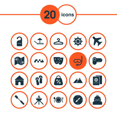 Journey icons set with lounger, backpack, compass and other cafe elements. Isolated vector illustration journey icons.