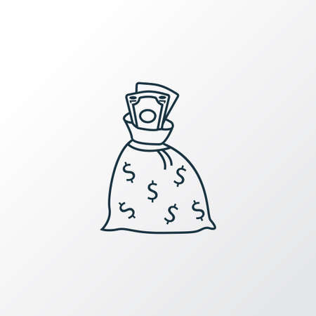 Money sack icon line symbol. Premium quality isolated finance bag element in trendy style.