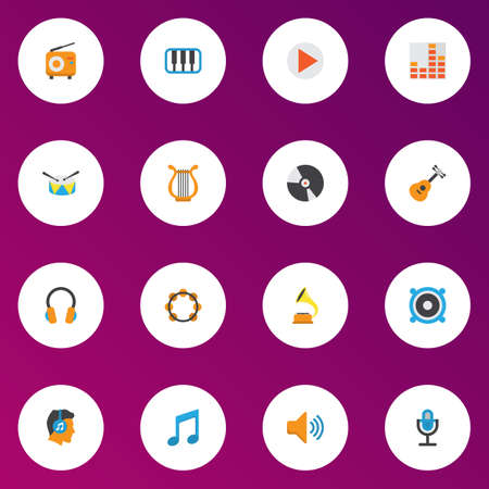 Audio icons flat style set with fm, begin, earpiece and other pianoforte elements.