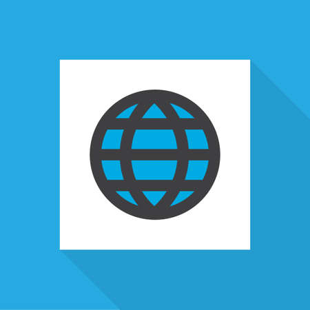 World icon flat symbol. Premium quality isolated global element in trendy style.  イラスト・ベクター素材