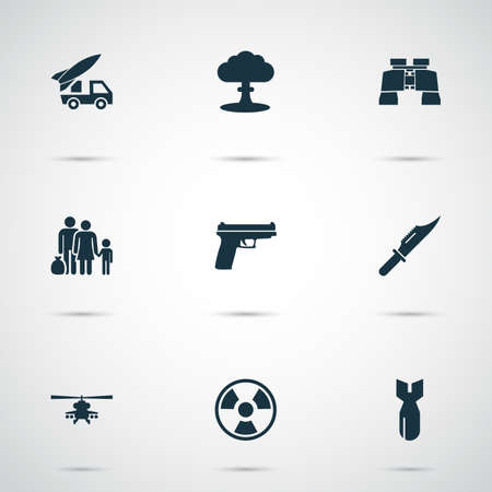 Battle icons set with refugee, gun, knife and other fugitive