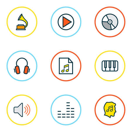 Multimedia icons colored line set with headphone, music level, equalizer and other list   elements. Isolated  illustration multimedia icons. 写真素材