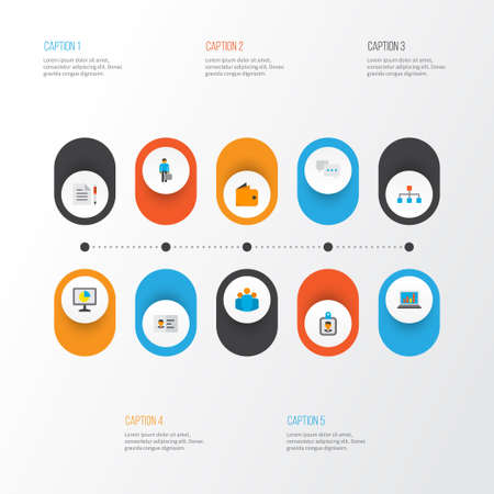 Business icons flat style set with wallet, analytics, statistics and other group  elements. Isolated vector illustration business icons. Stockfoto