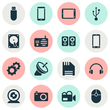 Gadget icons set with floppy disk, smartphone, flash drive and other tablet  elements. Isolated  illustration gadget icons. 版權商用圖片