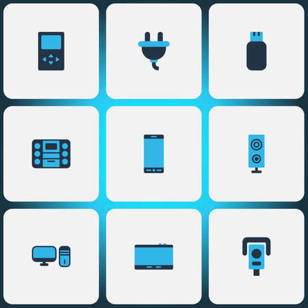 Hardware icons colored set with loudspeaker, music player, plug and other palmtop