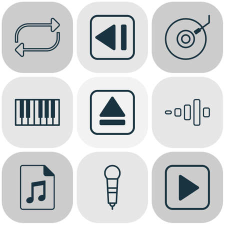 Multimedia icons set with synthesizer, dj disc, eject button and other document