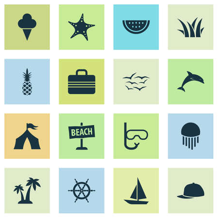 Sun icons set with baseball cap, pineapple, ship helm and other trees
