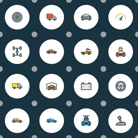Automobile icons colored line set with gear, tesla, garage and other carcass
