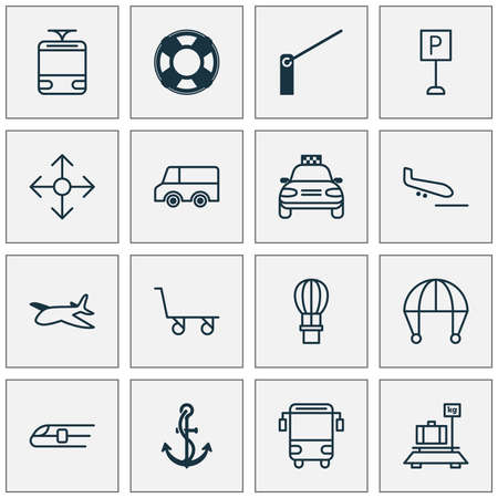 Delivery icons set with school bus, navigation, tram and other metro
