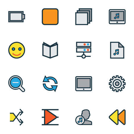 Media icons colored line set with playlist, emoji, artist and other composer
