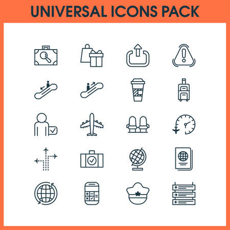 Travel icons set with flight time, holiday gift, coffee cup and other identification document