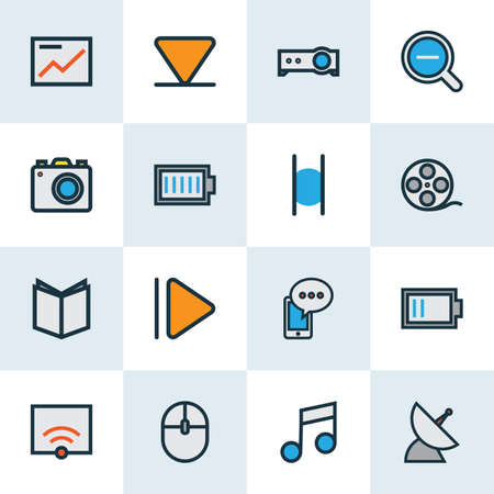 Media icons colored line set with low battery, music, pause and other mobile content elements. Isolated  illustration media icons. 版權商用圖片