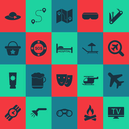 Travel icons set with helicopter, mask, hat and other clock