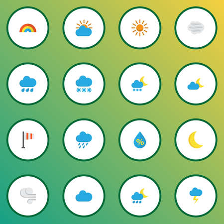 Air icons flat style set with rainy, snowy, flag and other rain elements. Isolated  illustration air icons.