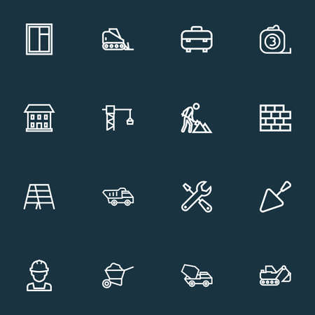 Construction icons line style set with cement vehicle, carry cart, service and other window elements. Isolated vector illustration construction icons.