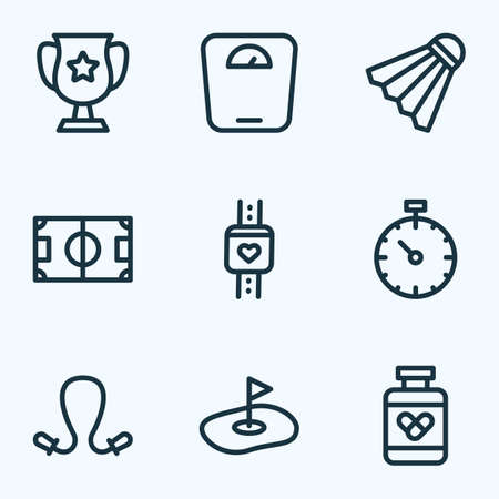 Game icons line style set with drugs, jumping rope, pressure tracker and other pill bottle