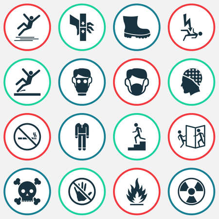 Safety icons set with respirator, beware of opening door, electrocution hazard and other defense  elements. Isolated  illustration safety icons. 免版税图像