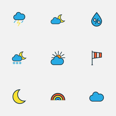 Air icons colored line set with wind vane, moonbeam, weather after rain and other flag   elements. Isolated  illustration air icons.