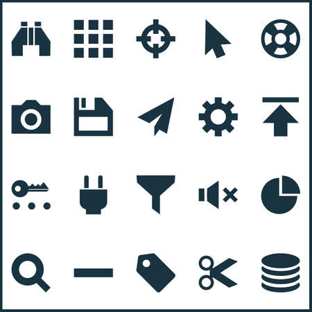 User icons set with apps, plug, search and other binocular   elements. Isolated  illustration user icons.