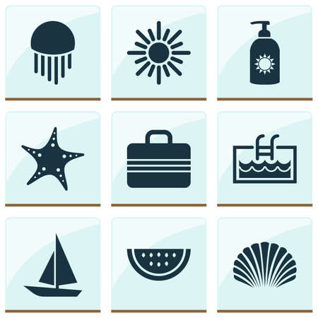 Sun icons set with starfish, shell, sun and other baggage