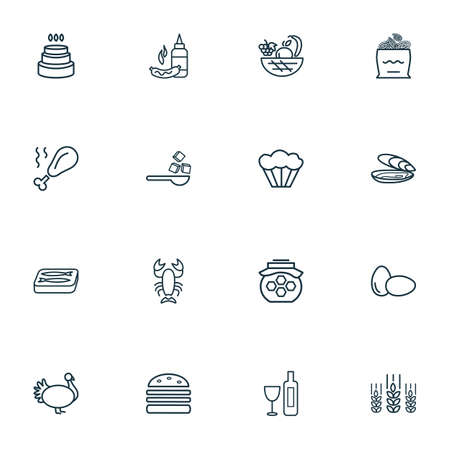 Nutrition icons line style set with turkey, oyster, sugar and other cereal  elements. Isolated vector illustration nutrition icons.
