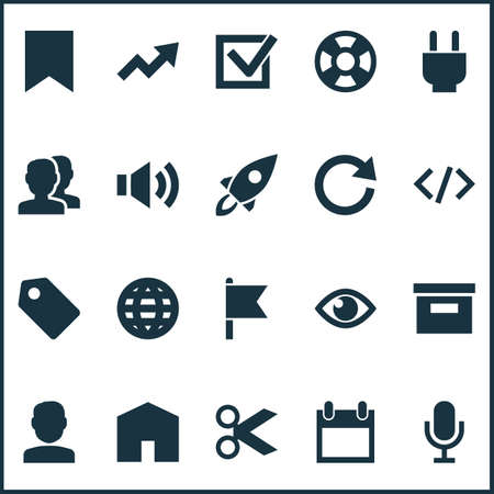 Interface icons set with show, goal, house and other lifebuoy  elements. Isolated vector illustration interface icons.