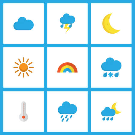 Climate icons flat style set with hail, rain-snow, shower and other temperature elements.