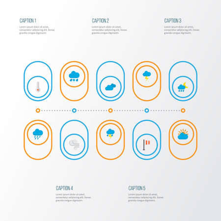 Air icons flat style set with shower, rain-snow, hail and other hailstones  elements. Isolated  illustration air icons.