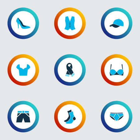 Clothes icons colored set with scarf, socks, heel shoe and other neckerchief
