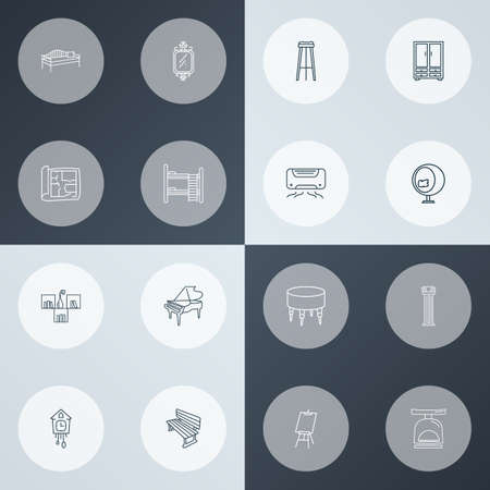 Interior icons line style set with house plan, air conditioner, wall mirror and other canvas  elements. Isolated vector illustration interior icons.