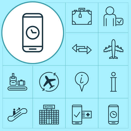 Traveling icons set with phone time, airplane direction, info sign and other crossroad