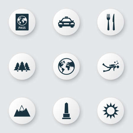 Exploration icons set with mountains, sun, monument and other mount   elements. 版權商用圖片