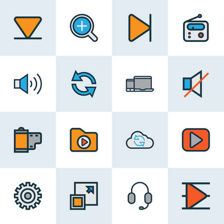 Media icons colored line set with sound off, end, arrow down and other maximize  elements.