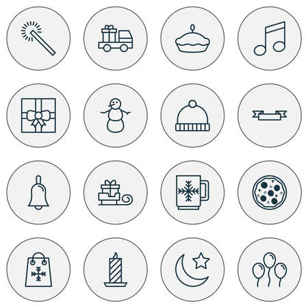 Holiday icons set with winter hat, tart, bell and other air ball  elements. Isolated vector illustration holiday icons. Illustration